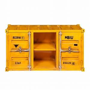 Tv Möbel Metall : tv lowboard im container design aus metall b 129 cm gelb carlingue carlingue maisons du monde ~ Whattoseeinmadrid.com Haus und Dekorationen