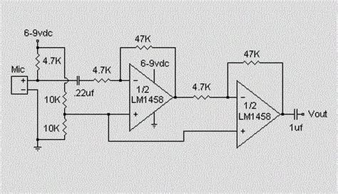 microphone condenser pre lifier circuit koleksi skema rangkaian artikel elektronika