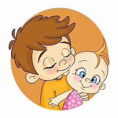 Brother Sister Clipart Cartoon Vector Hugs Clip