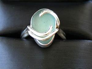 Sea glass engagement ring made by meg jewelry for Glass wedding ring