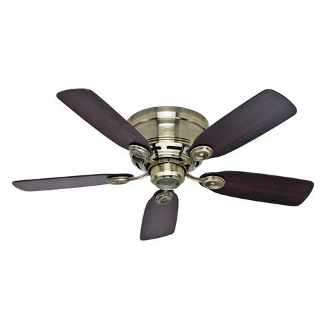 42 flush mount ceiling fan shop hunter low profile iv 42 in antique brass indoor
