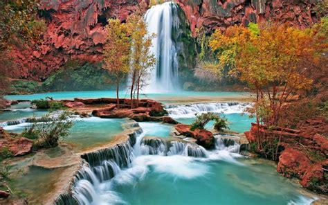 Beautiful Autumn Waterfall Phone Wallpapers