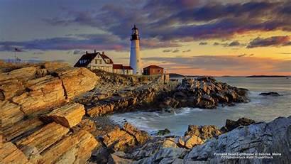 Portland Maine Lighthouse Head Wallpapers Sunrise Architecture