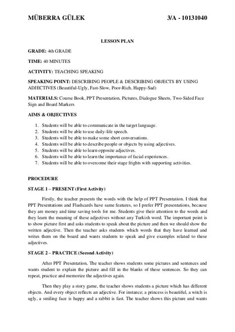 lesson plan for teaching to learners teaching speaking lesson plan for learners