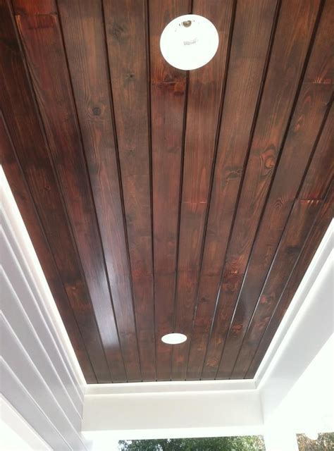 Tongue and Groove Ceiling great stain color for foyer and