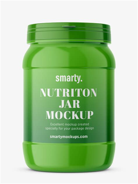 Protein jar, used in the pharmaceutical industry as the package for tablets, pills, or capsules. Protein jar mockup / glossy - Smarty Mockups