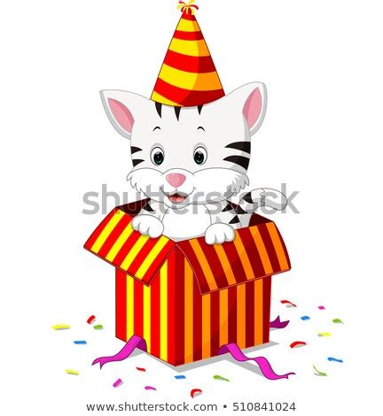 cute puppy party hat holding lollipop stock vector