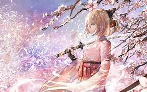 Sakura, Saber, Katana, Kimono, Sakura, Blossom, Fate, Grand, Order, C, U00f3, H, U00ecnh, U1ea3nh