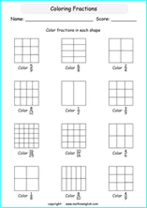 fraction worksheets  primary math grades
