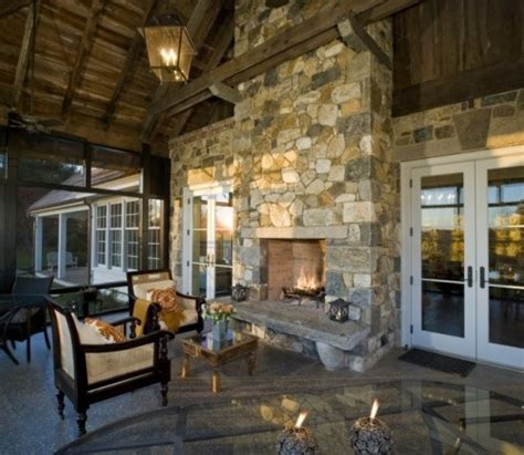 Attached Outdoor Living Area With Fireplace Rugged