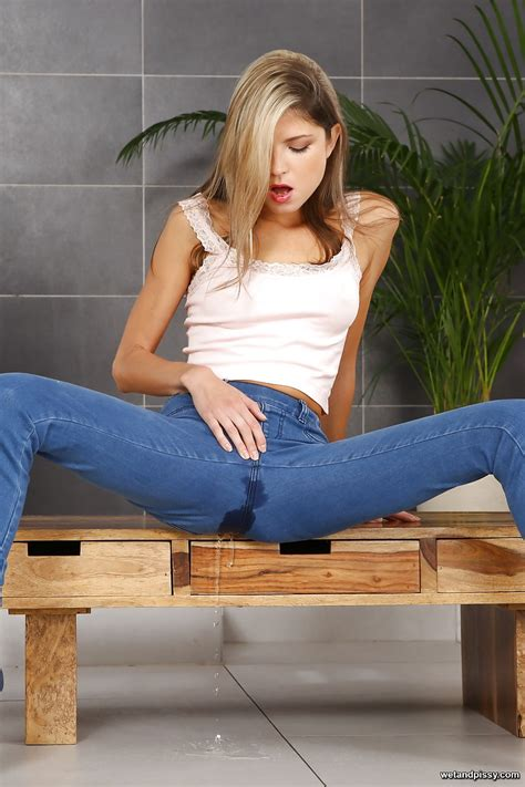 skinny teen gina gerson spreading legs to pee in her jeans and finger twat