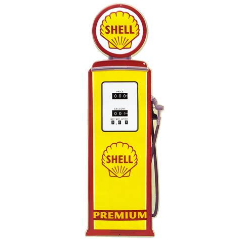 shell gas pump large embossed tin sign vintage style garage 11 x 32 ebay