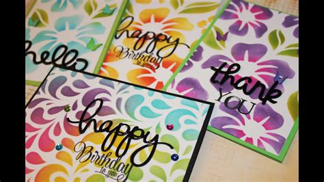 making multiple cards  distress ink  stencils