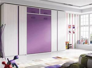 Lit Dans Armoire : lit armoire escamotable vertical avec rangements ~ Premium-room.com Idées de Décoration