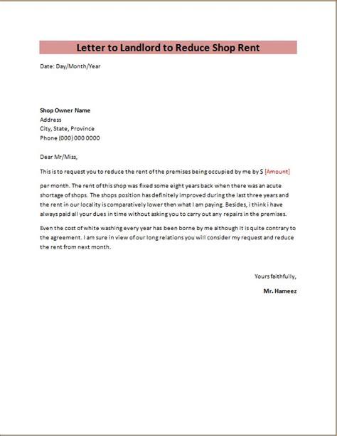 application letter  rent  shop rent reduction request