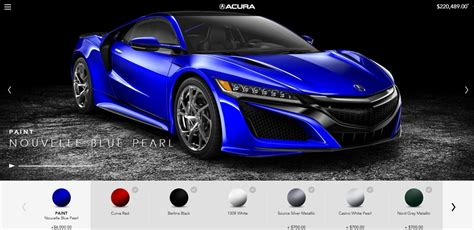 acura nsx configurator goes online and reveals some costly