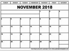 November 2018 Printable Calendar 2018 calendar printable