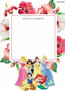 free printable disney princess floral invitation template With free printable disney wedding invitations templates