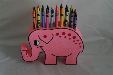 childrens pink elephant wood crayon holder