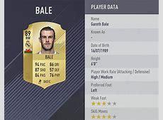 Gareth Bale FIFA 18 ratings Top Real Madrid player