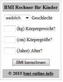 Bmi Jugendlich Berechnen : bmi rechner kinder f r die eigene webseite widget html ~ Themetempest.com Abrechnung