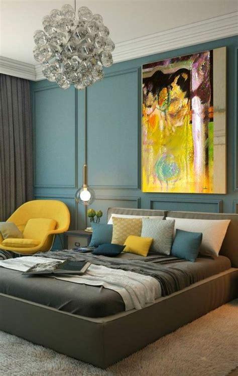 chambre jaune et gris 1001 idées pour une chambre bleu canard pétrole et paon