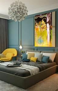 Tapis Jaune Et Bleu : 1001 id es pour une chambre bleu canard p trole et paon ~ Dailycaller-alerts.com Idées de Décoration