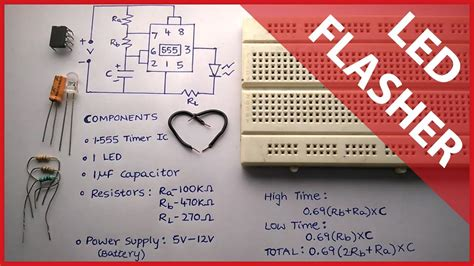Flashing Led Circuit Using Timer With Theory