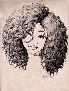 Drawn girl curly hair - Pencil and in color drawn girl ...