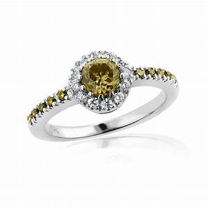 White brown diamond engagement ring 14k gold 072ct halo for Brown diamond wedding rings