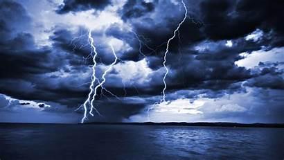 Storm Lightning Sea Ocean Wallpapers Desktop Thunder