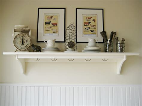 vintage farmhouse kitchen decor white wall shelves for effective storage in small kitchen