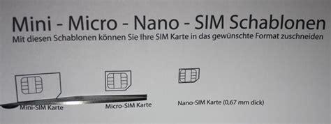 micro sim nano sim schablone zum  mit anleitung