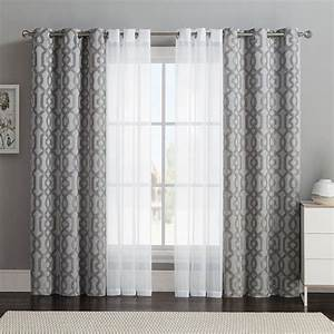 Vcny 4 pack barcelona double layer curtain set gray 32 for Drapes in garments