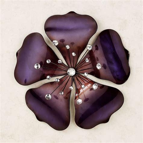 shimmering gem purple flower metal wall