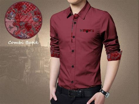 kemeja batik pria simple moderen warna maroon bj0029 in 2019 baju trend pria terbaru murah