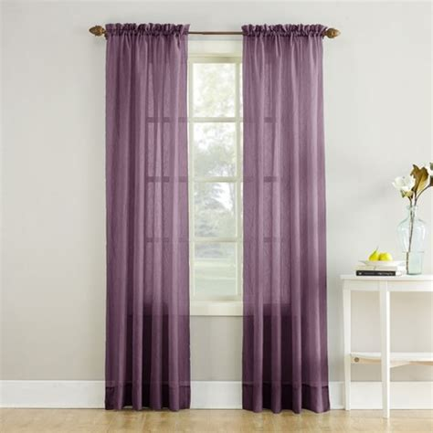 erica crushed sheer voile rod pocket curtain panel purple