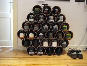 Idée Rangement Chaussures A Faire Soi Meme : rangement chaussures fabrique avec tube pvc ~ Dallasstarsshop.com Idées de Décoration