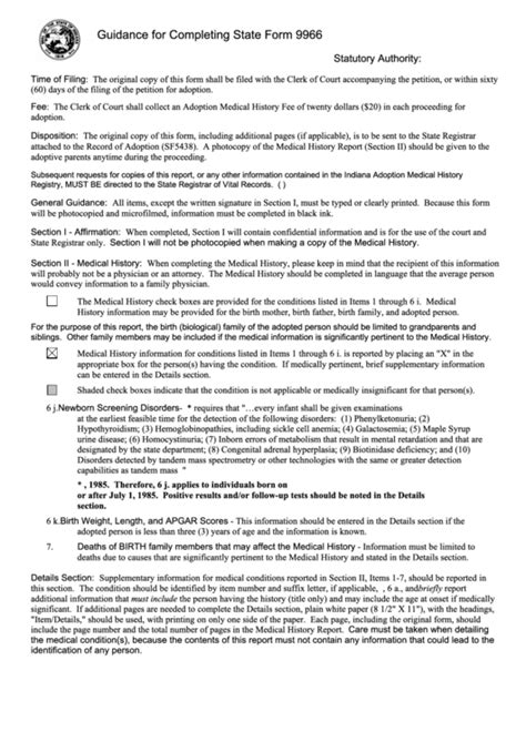 indiana adoption medical history report printable