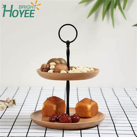 food serving tray  tier wood cake display stand platters perfect  party foods desserts cakes