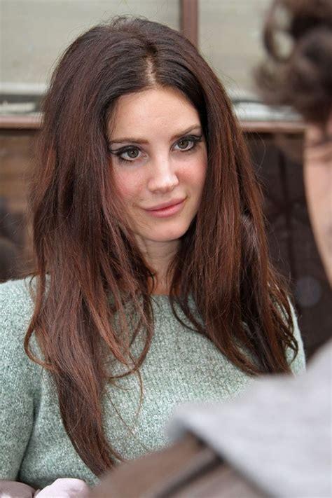 Lana Del Rey Straight Auburn Angled Messy Hairstyle