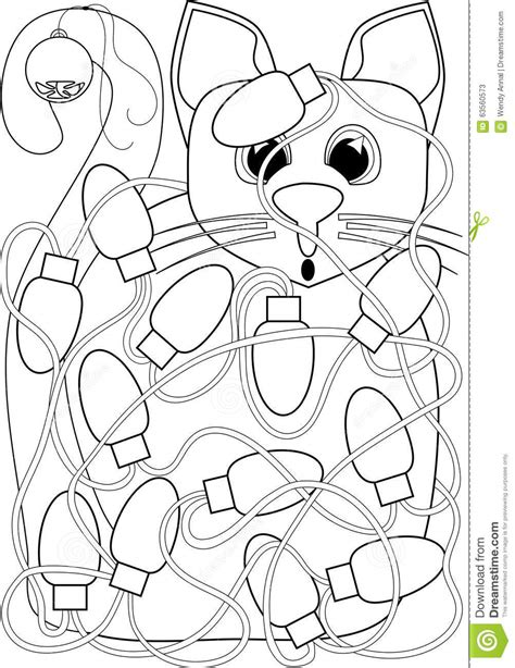 cat tangled  christmas lights coloring page stock illustration illustration  drawing