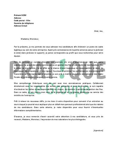 lettre de motivation cadre infirmier lettre de motivation pour un emploi de cadre logistique confirm 233 pratique fr