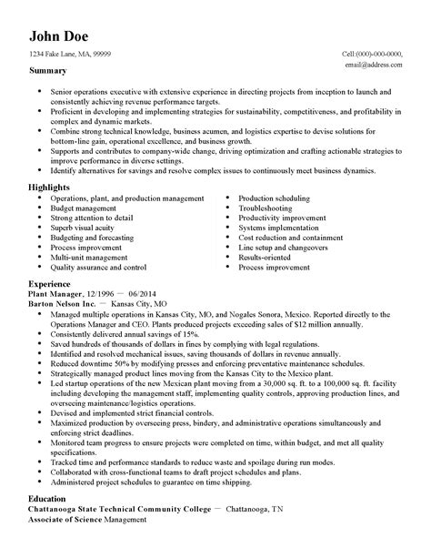 Plant Manager Resume Summary by Professional Plant Manager Templates To Showcase Your