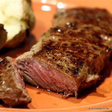 steaks in the oven pan seared oven roasted strip steak 101 cooking for two