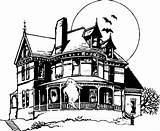 Haunted Coloring Pages Sketch Printable Drawing Adults Houses Halloween Colouring Drawings Google Folk Doll Open sketch template