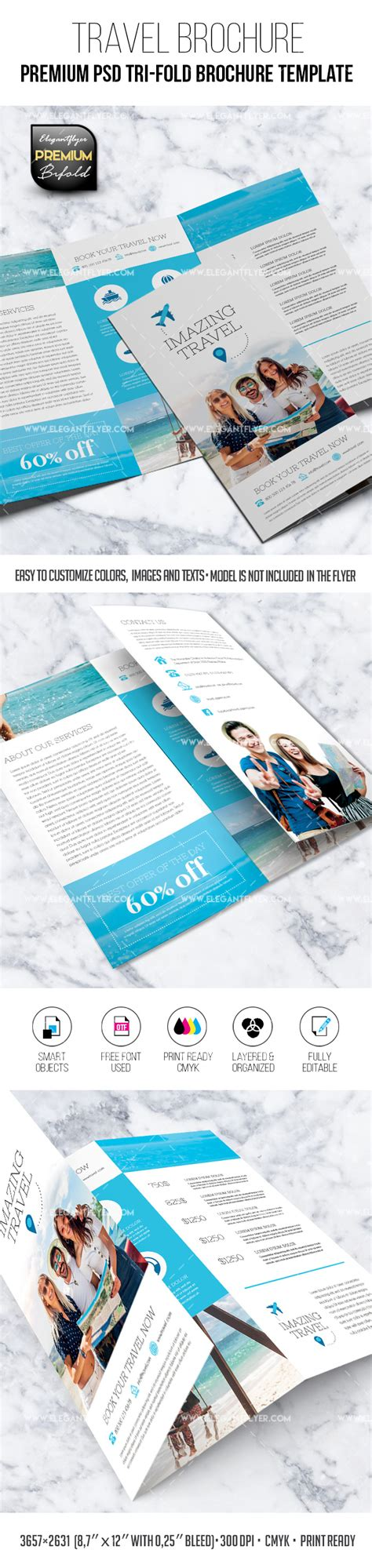 Tri Fold Brochure Templates Free By Elegantflyer Travel Tri Fold Brochure Psd Template By Elegantflyer