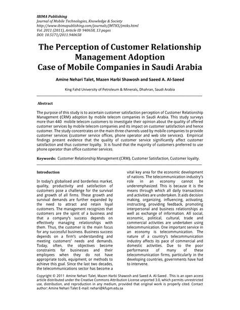 mobile customer relationship management pdf the perception of customer relationship management