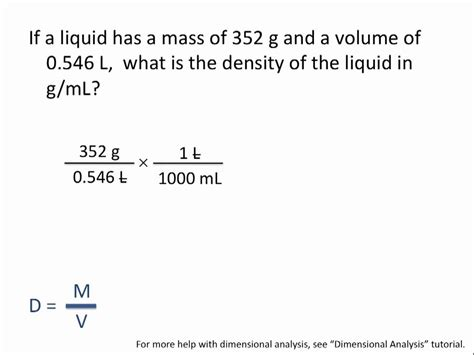 Density Calculations  Chemistry Tutorial Youtube