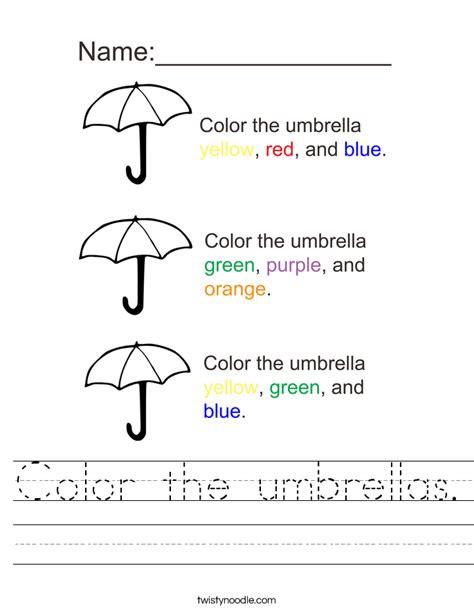 color  umbrellas worksheet twisty noodle
